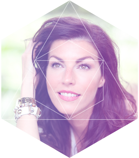 Headshot of Heather Within a Polygon Shape